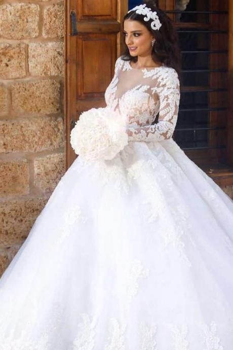 Long Sleeves Wedding Dress with Lace