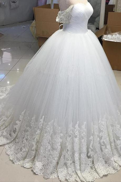 White Ball Gown Wedding Dress with Lace Off the Shoulder Bridal Dress