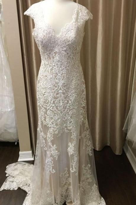 Cap Sleeves Ivory Lace Wedding Dress