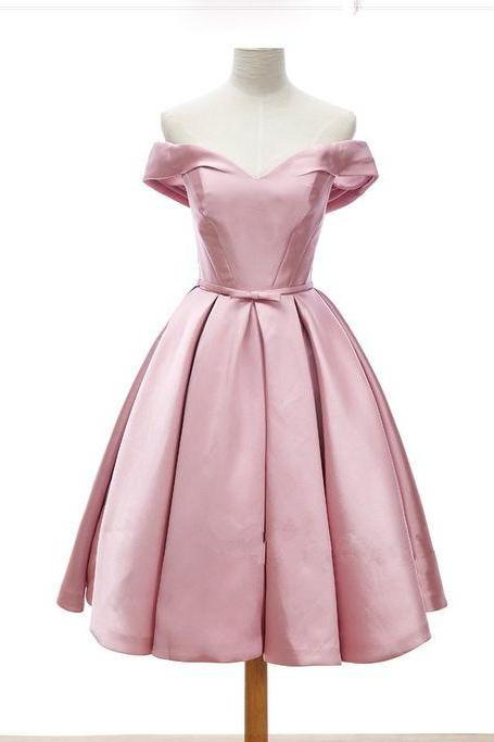 Pink Off-The-Shoulder Plunge V Short Pleated Homecoming Dress Featuring Bow Accent Belt and Lace-Up Back, Formal Dress