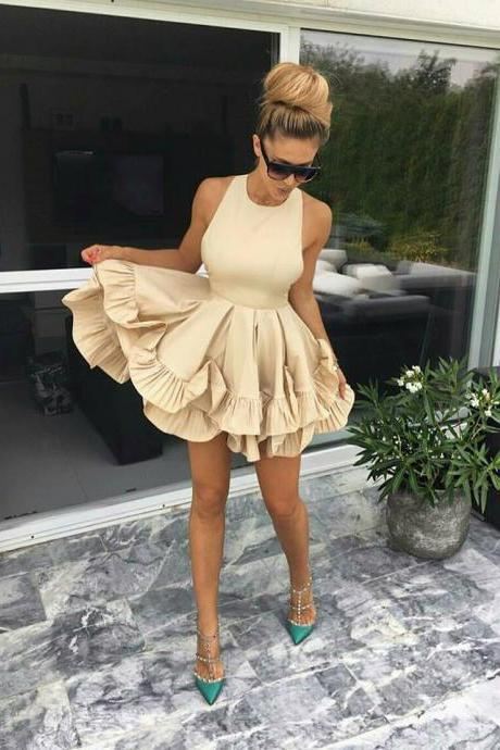 Double Tiered Short Homecoming Dress