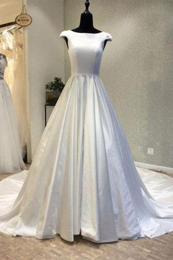 Cap Sleeves White Satin Wedding Dress
