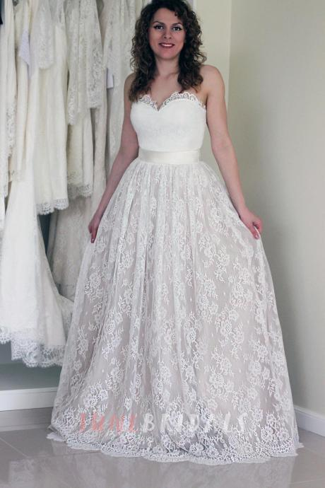 Sleeveless Lace Over Satin Wedding Dress
