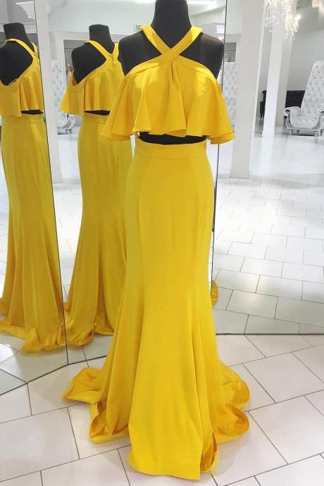 Yellow Two Pieces Prom Dress