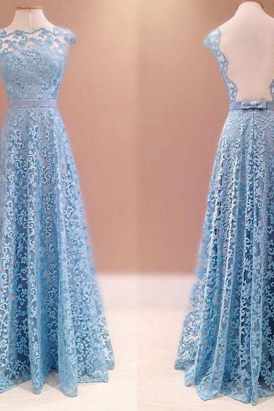 A-line Overall Lace Light Blue Evening Dress with Illusion Back