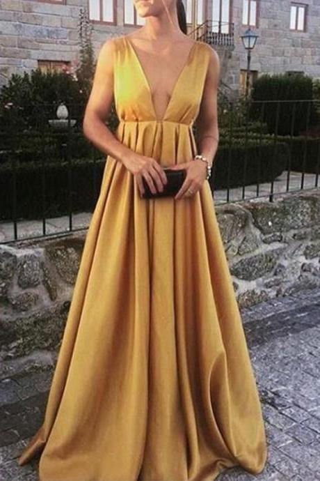 Plunging Neck Gold Evening Dress