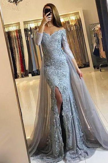 Long Sleeves Grey Lace Prom Dress with Detachable Skirt