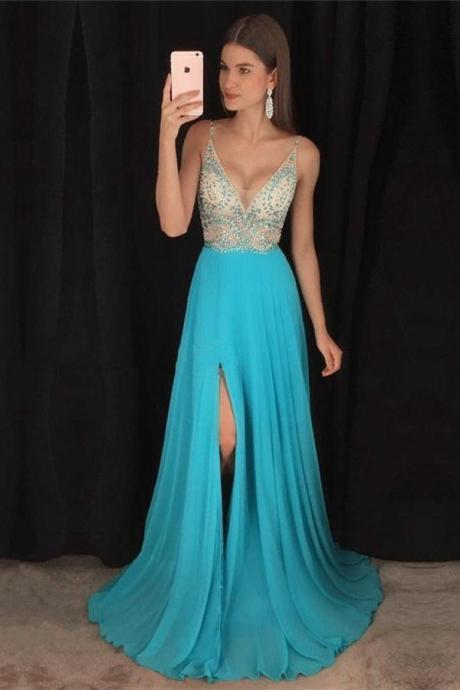 Plunging Neck Blue Prom Dress with Slit