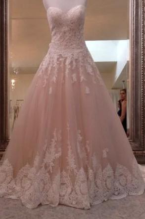 Sweetheart Ball Gown Wedding Dress with Lace Trim