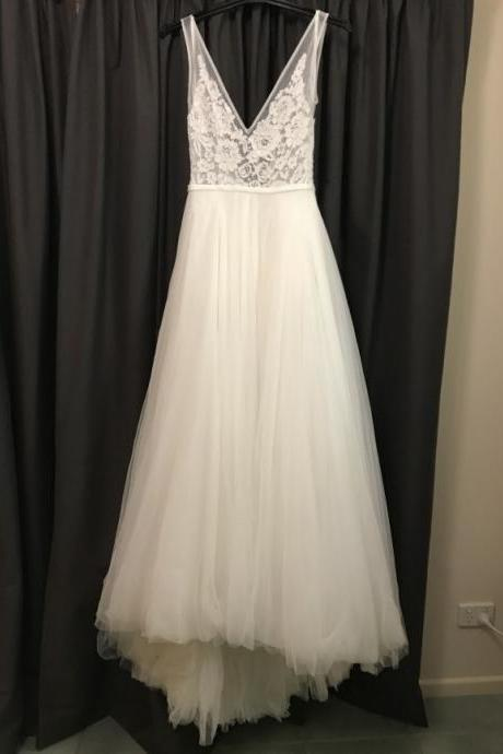 V Neck Country Wedding Dress with Slit