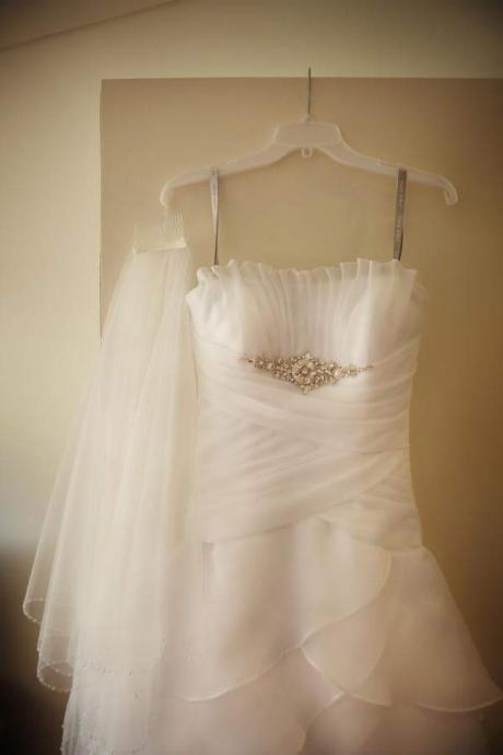 Strapless Tiered Organza Wedding Dress
