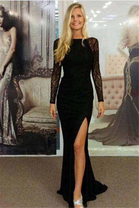 Sheer Long Sleeves Backless Black Prom Dress with Slit