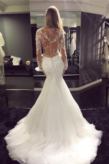 Classic Mermaid Wedding Dress with Long Sleeves Bridal Dress