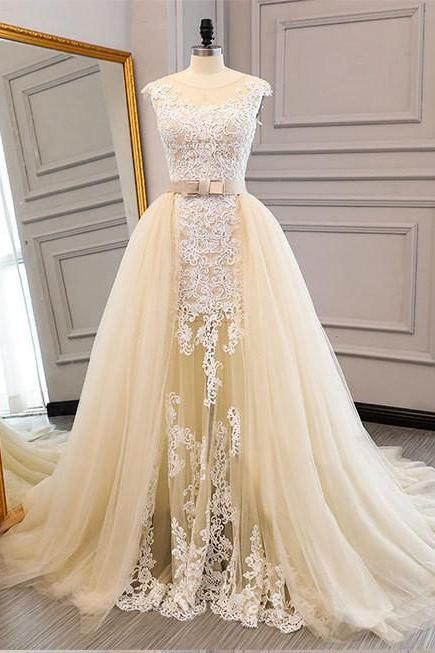 Champagne Wedding Dress with Removable Skirt