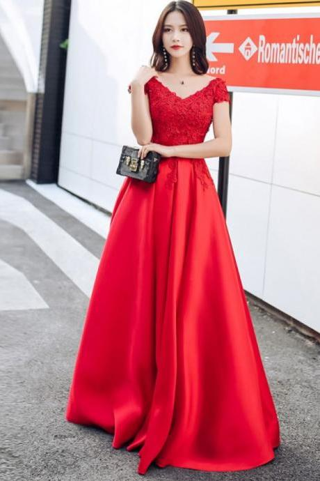 Red Formal Occasion Dress with Short Sleeves