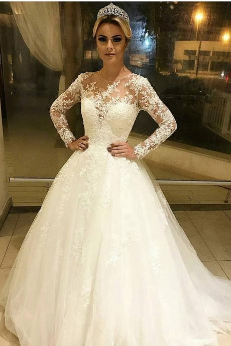 Ivory Long Sleeves Wedding Dress