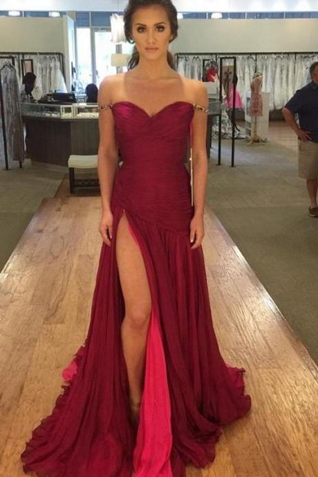 Off the Shoulder Straps Prom Dress with Slit