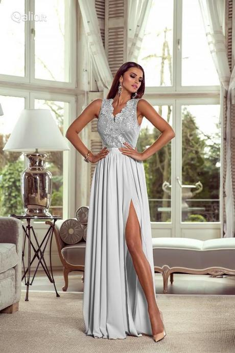 Chiffon Lace Evening Dress with Slit