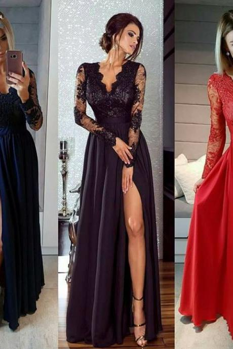Long Sleeves Prom Dress with Slit