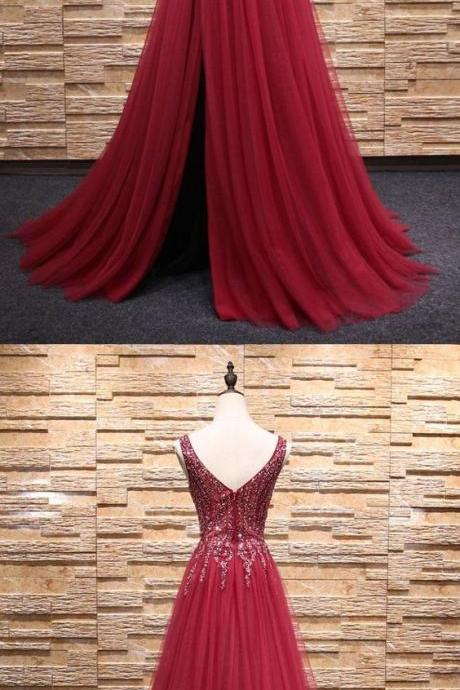 V Neck Prom Dress with Slit