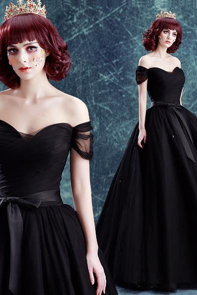 Prom Dress Off the Shoulder Black Ball Gown Formal Occasion Dress