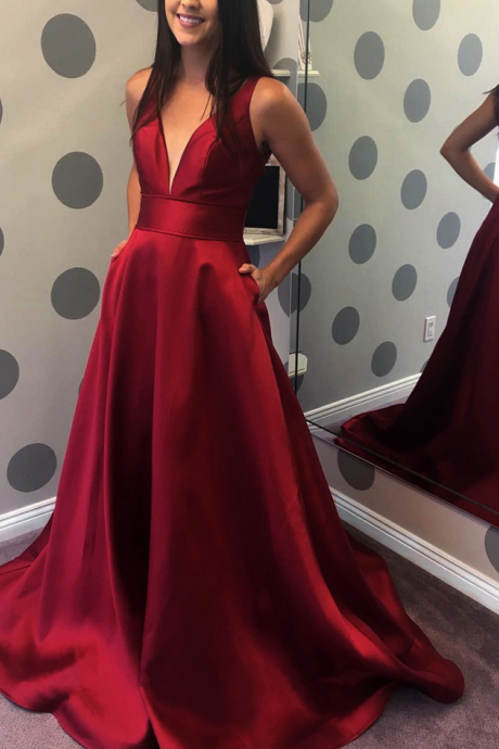 Plunging Neck Prom Dress with V Back