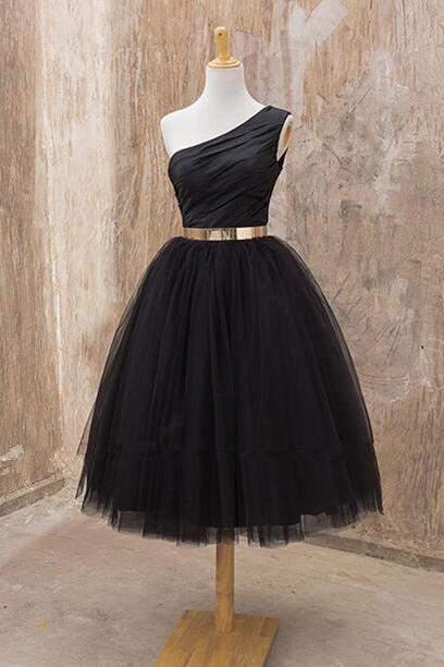 One Shoulder Dress, Short Black Dress, Homecoming Dress, Short Cocktail Dress