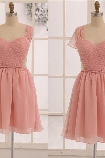 Blush Pink Short Party Dress with Convertible Sleeves, Homecoming Dress, Cocktail Dress