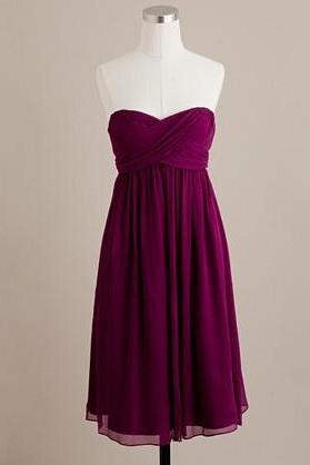 Spiced Wine Short Bridesmaid Dress, Short Party Dress