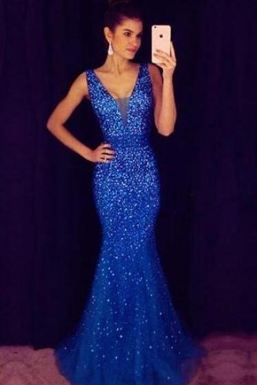 Royal Blue Prom Dress, Mermaid Prom Dress, Crystaled Prom Dress
