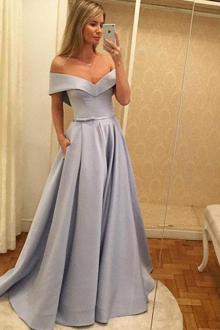 Off the Shoulder Prom Dress with Removable Bow Sash