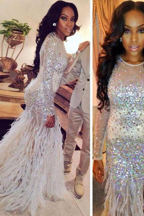Long Sleeves Sparkle Feather Prom Dress with Slit