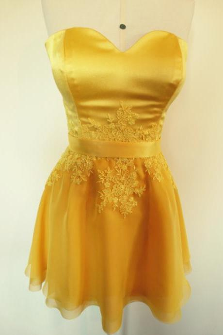 Gold Yellow Short Homecoming Party Dress
