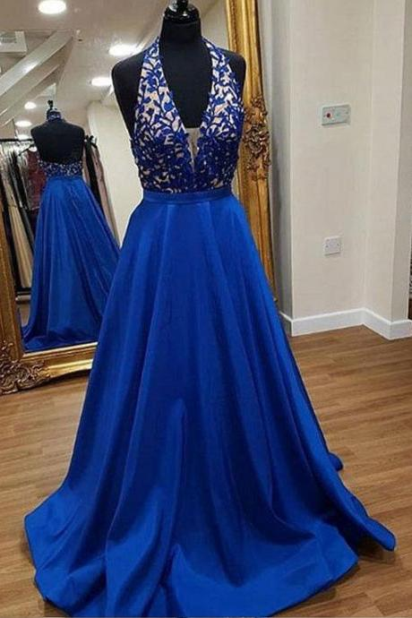 V Neck Royal Blue Halter Prom Dress