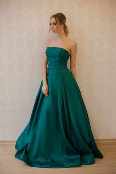 A-line Strapless Long Green Prom Dress