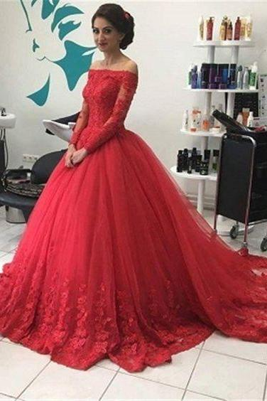 Long Sleeves Ball Gown Prom Dress with Lace Trim