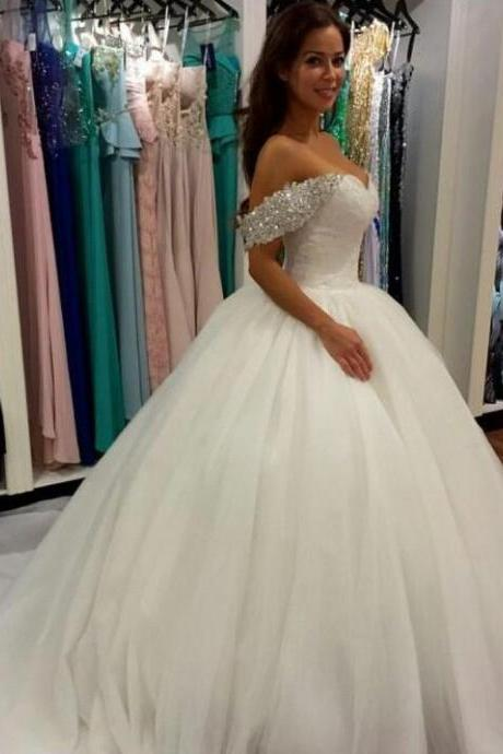 Beaded Off the Shoulder Ball Gown Wedding Dress