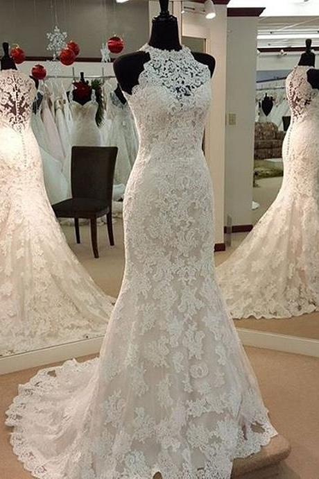 Overall Lace Wedding Dress