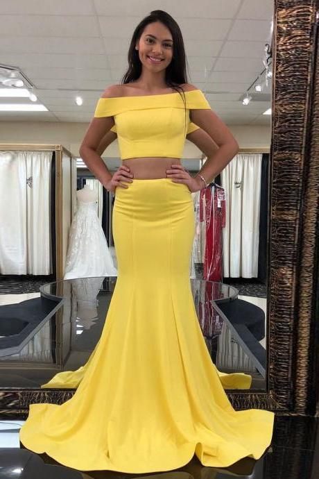 Yellow Two Pieces Prom Dress with Off the Shoulder Crop Top