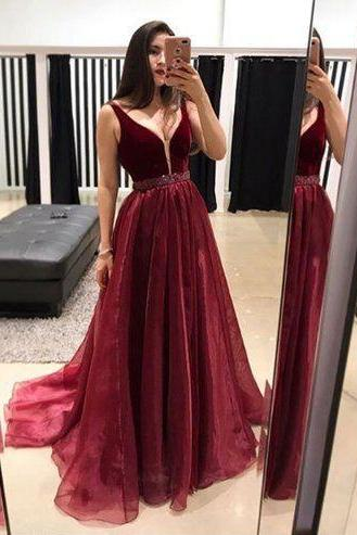 Burgundy Plunging Neck Prom Dress with Velvet Bodice