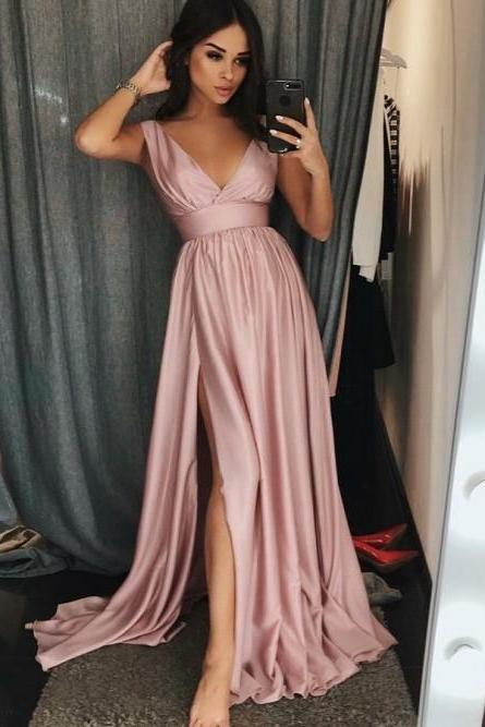 V Neck Prom Dress with Slit Maxi Dress