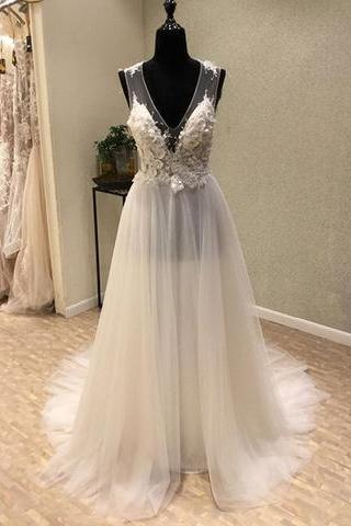 V Neck Long Wedding Dress with Sheer Back