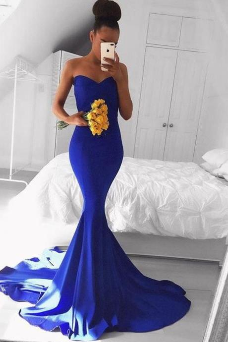 Sweetheart Neckline Royal Blue Prom Dress