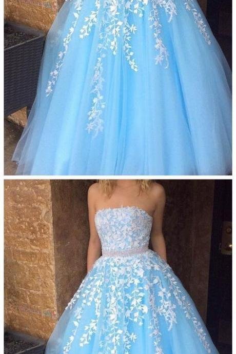 Strapless Blue Prom Dress with Lace