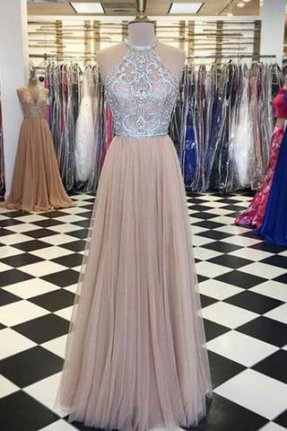 Sheer Neck Halter Prom Dress