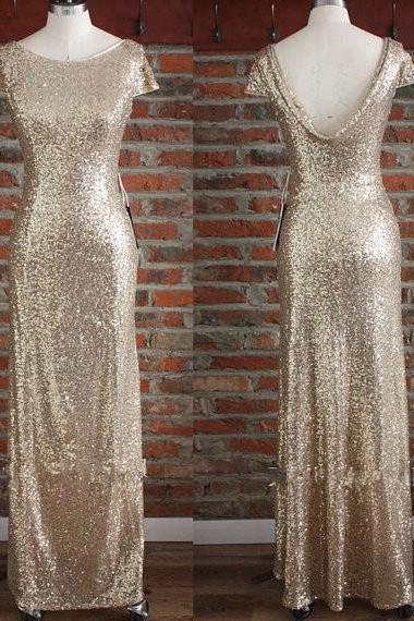 Champagne Gold Sequin Bridesmaid Dress