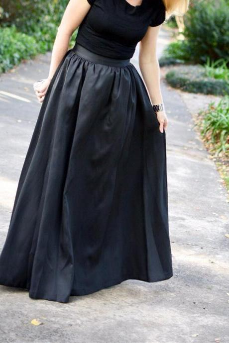 Floor Length Black Satin Skirt