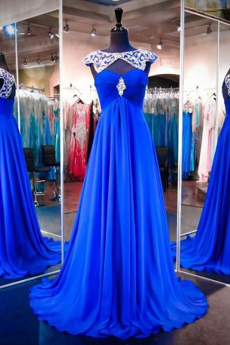 Long Royal Blue Prom Dress with Attachable Shawl