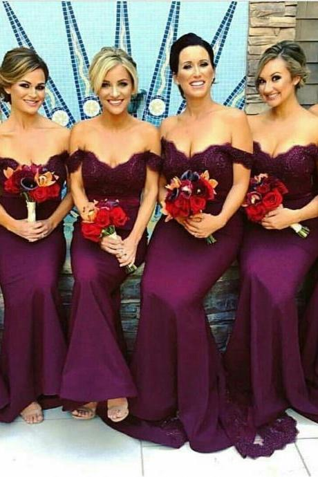 Off the Shoulder Purple Bridesmaid Dress