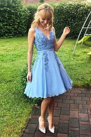 V Neck Short Blue Homecoming Dress